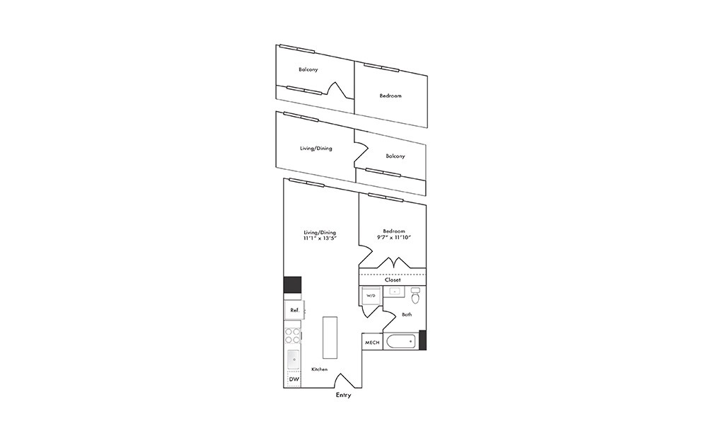 A10 - 1 bedroom floorplan layout with 1 bath and 602 square feet.