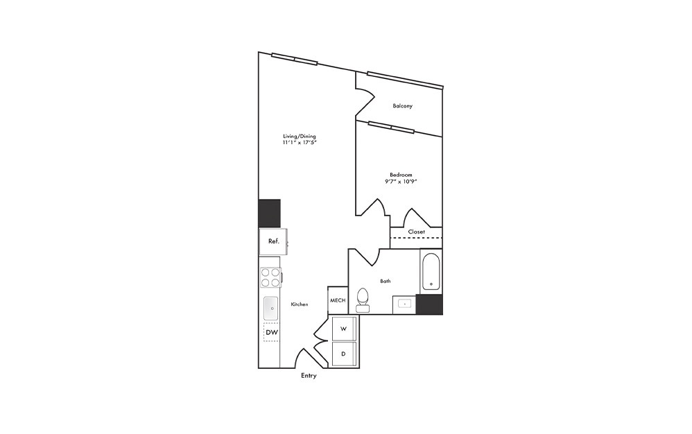 A11 - 1 bedroom floorplan layout with 1 bath and 656 square feet.