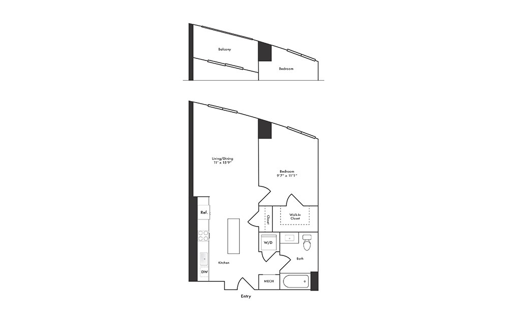 A12 - 1 bedroom floorplan layout with 1 bath and 582 square feet.
