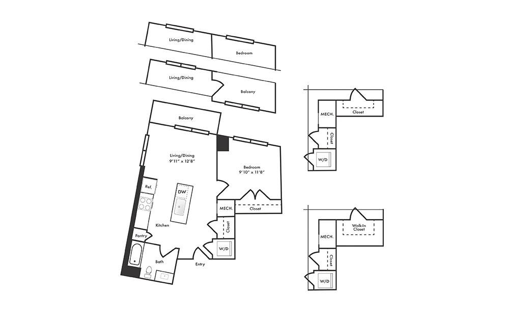 A14 - 1 bedroom floorplan layout with 1 bath and 728 to 768 square feet.