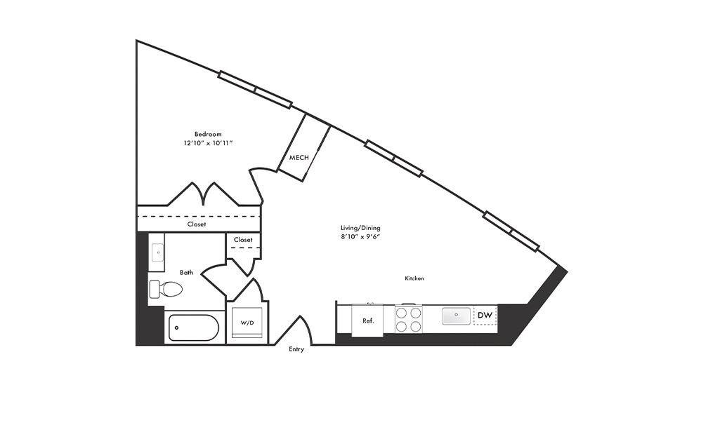 A15 - 1 bedroom floorplan layout with 1 bath and 626 square feet.