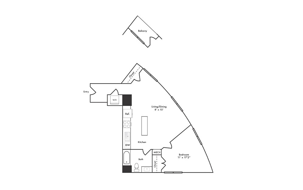 A16 - 1 bedroom floorplan layout with 1 bath and 706 to 752 square feet.