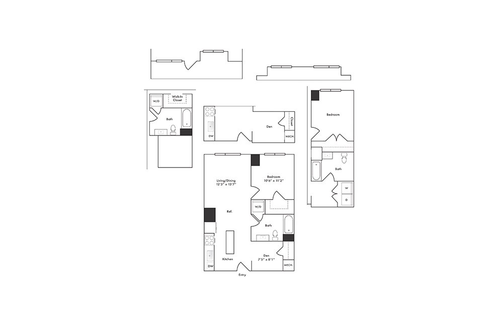 A1 - 1 bedroom floorplan layout with 1 bath and 683 to 784 square feet.