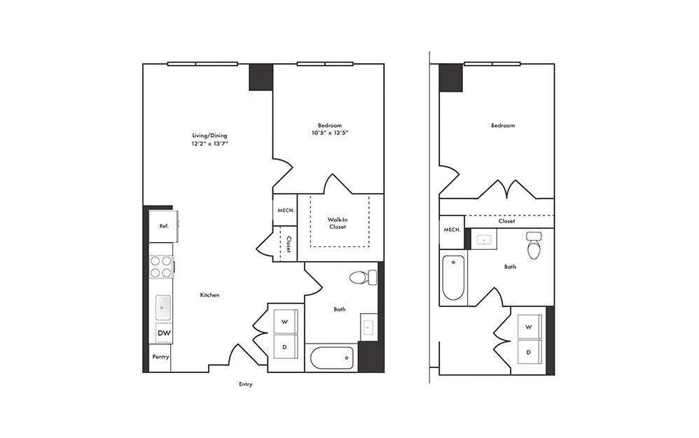 A2 - 1 bedroom floorplan layout with 1 bath and 737 square feet.