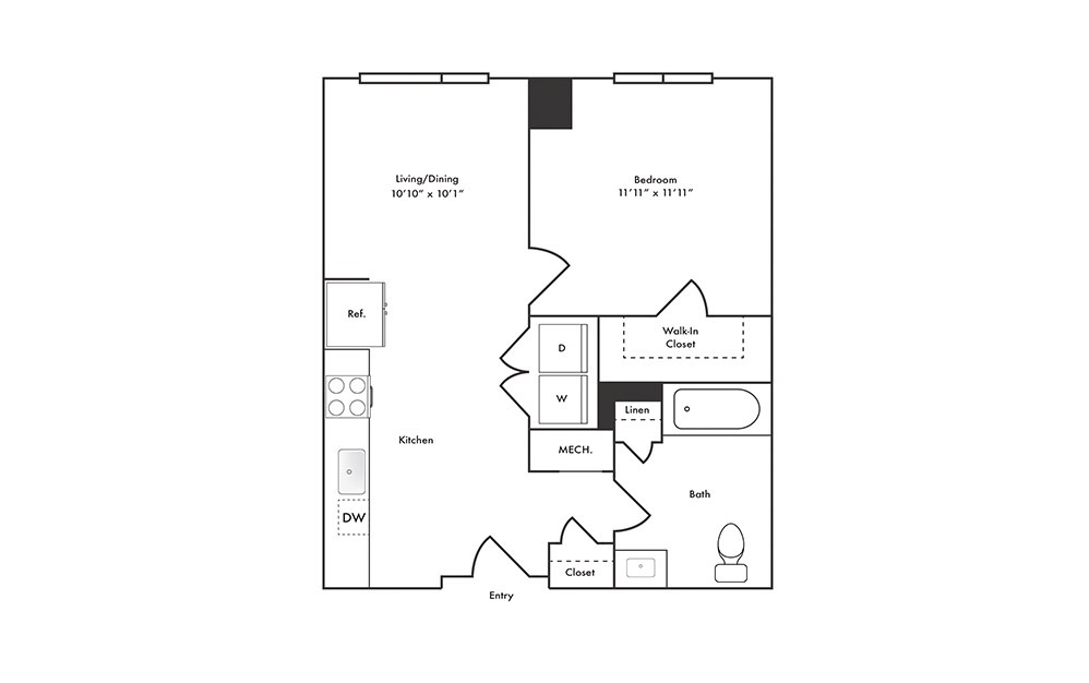 A3 - 1 bedroom floorplan layout with 1 bath and 660 square feet.