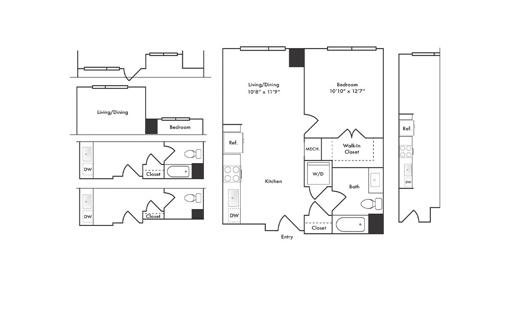 A4 - 1 bedroom floorplan layout with 1 bath and 643 to 688 square feet.