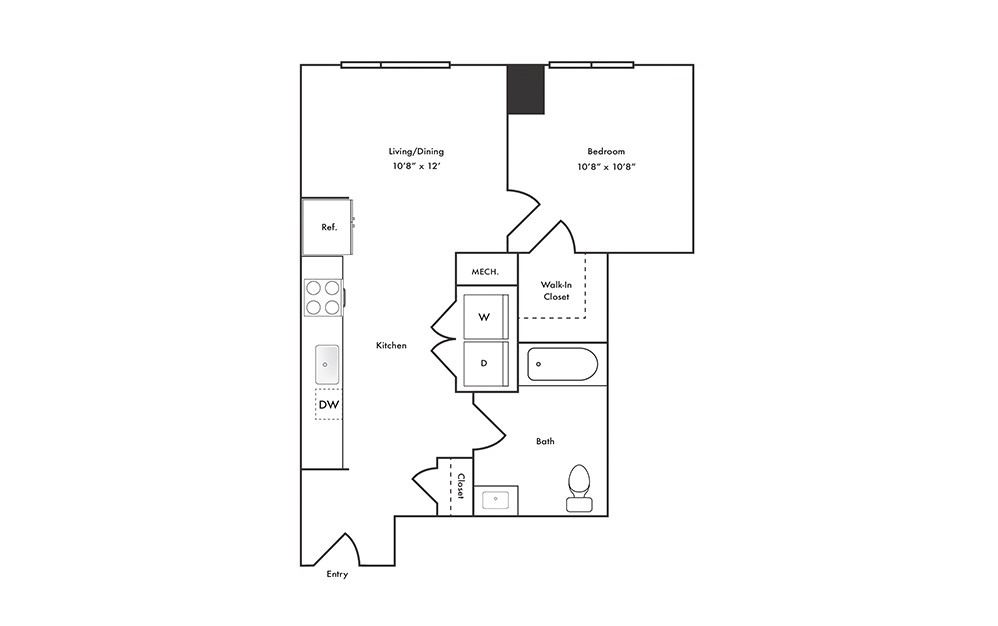 A5 - 1 bedroom floorplan layout with 1 bath and 600 square feet.