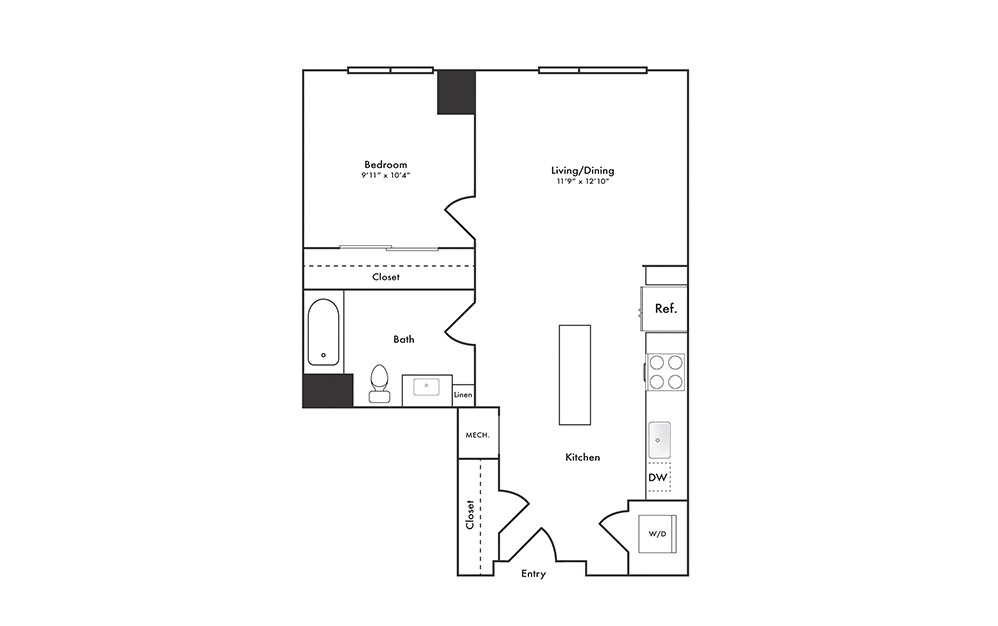 A6 - 1 bedroom floorplan layout with 1 bath and 655 square feet.