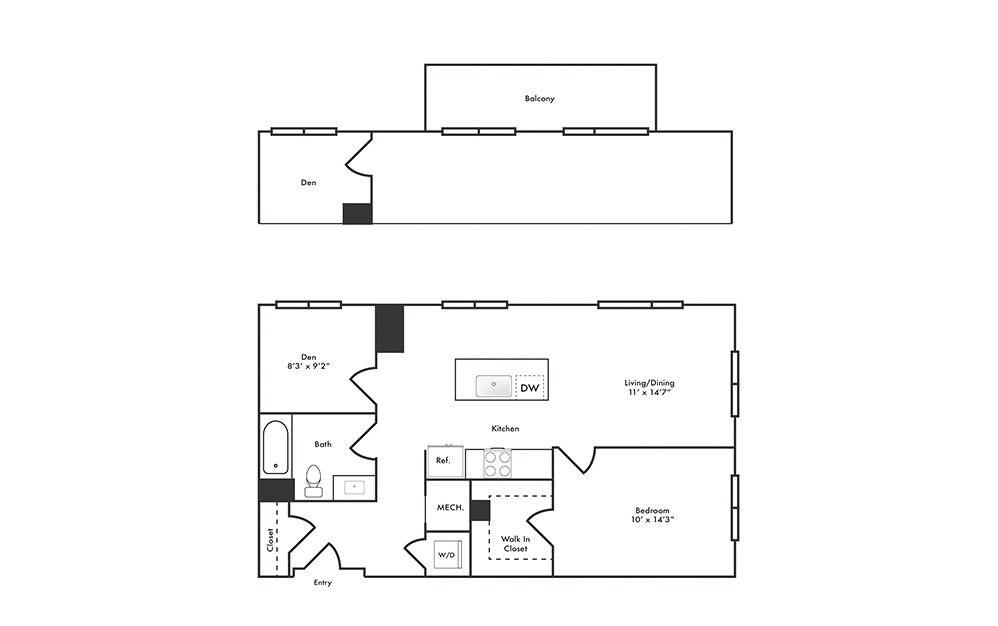 A7 - 1 bedroom floorplan layout with 1 bath and 875 square feet.