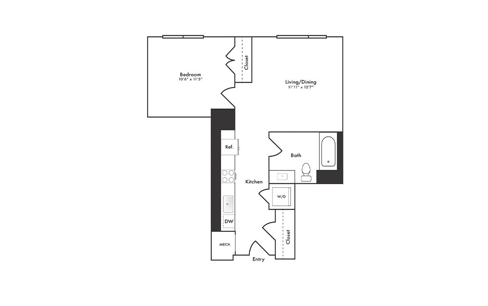 A8 - 1 bedroom floorplan layout with 1 bath and 607 square feet.