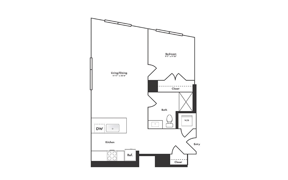 A9 - 1 bedroom floorplan layout with 1 bath and 631 to 696 square feet.