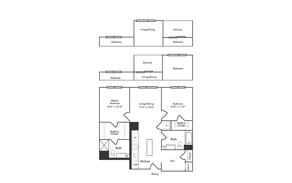 B1 - 2 bedroom floorplan layout with 2 baths and 1015 square feet.
