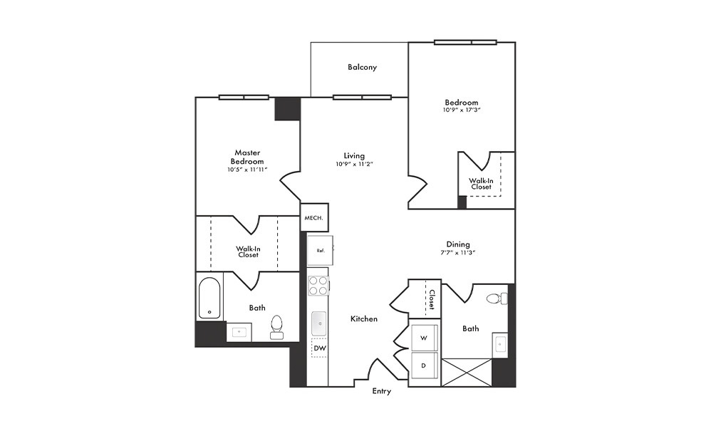 B2 - 2 bedroom floorplan layout with 2 baths and 985 square feet.