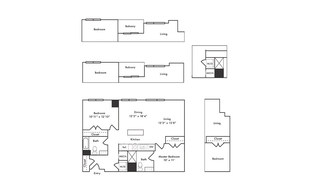 B3 - 2 bedroom floorplan layout with 2 baths and 1069 square feet.