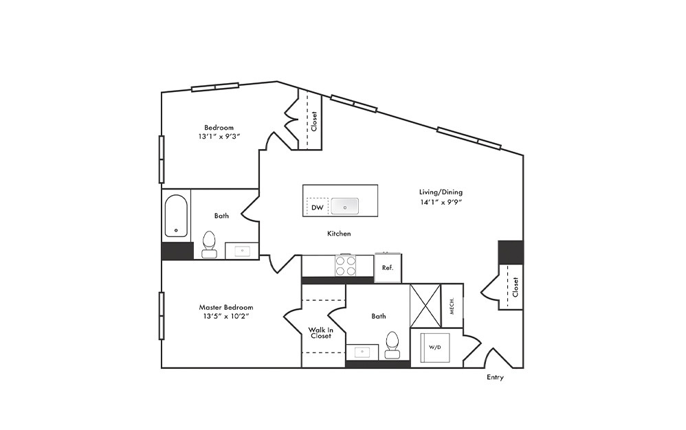 B5 - 2 bedroom floorplan layout with 2 baths and 965 square feet.