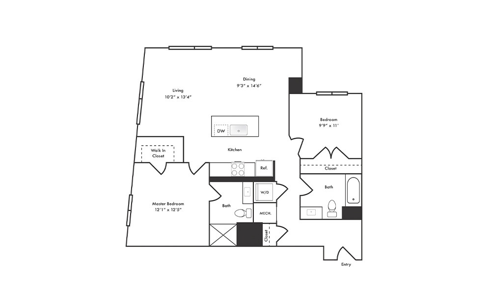 B6 - 2 bedroom floorplan layout with 2 baths and 1100 square feet.