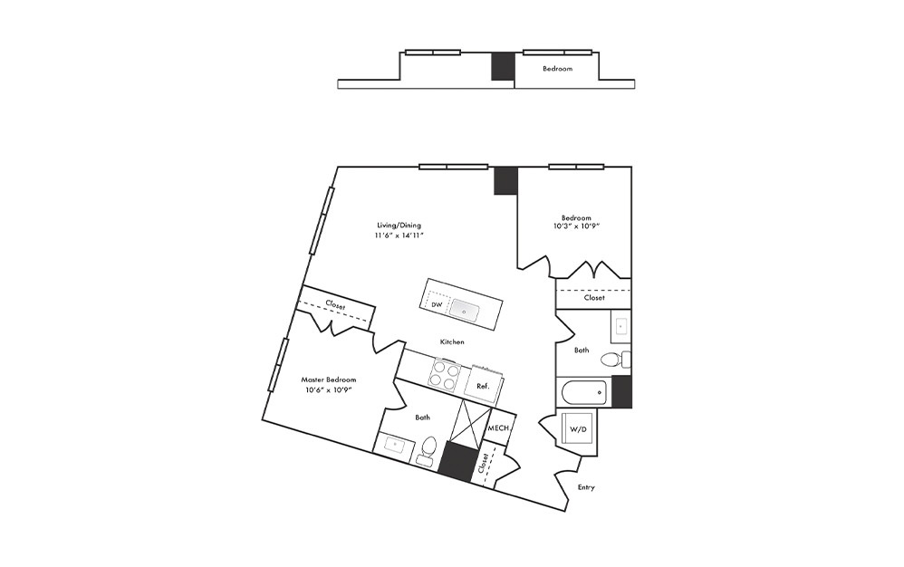 B8 - 2 bedroom floorplan layout with 2 baths and 955 square feet.