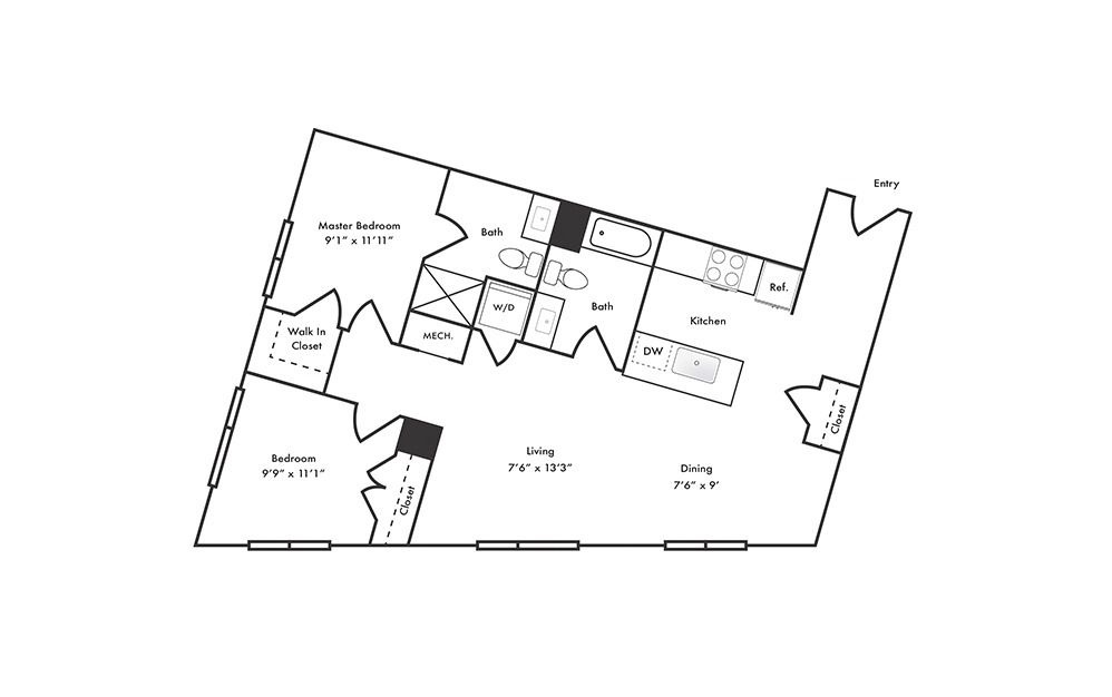 B9 - 2 bedroom floorplan layout with 2 baths and 1013 square feet.