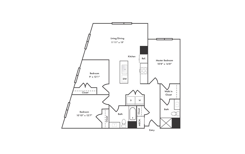 C1 - 3 bedroom floorplan layout with 2 baths and 1267 square feet.