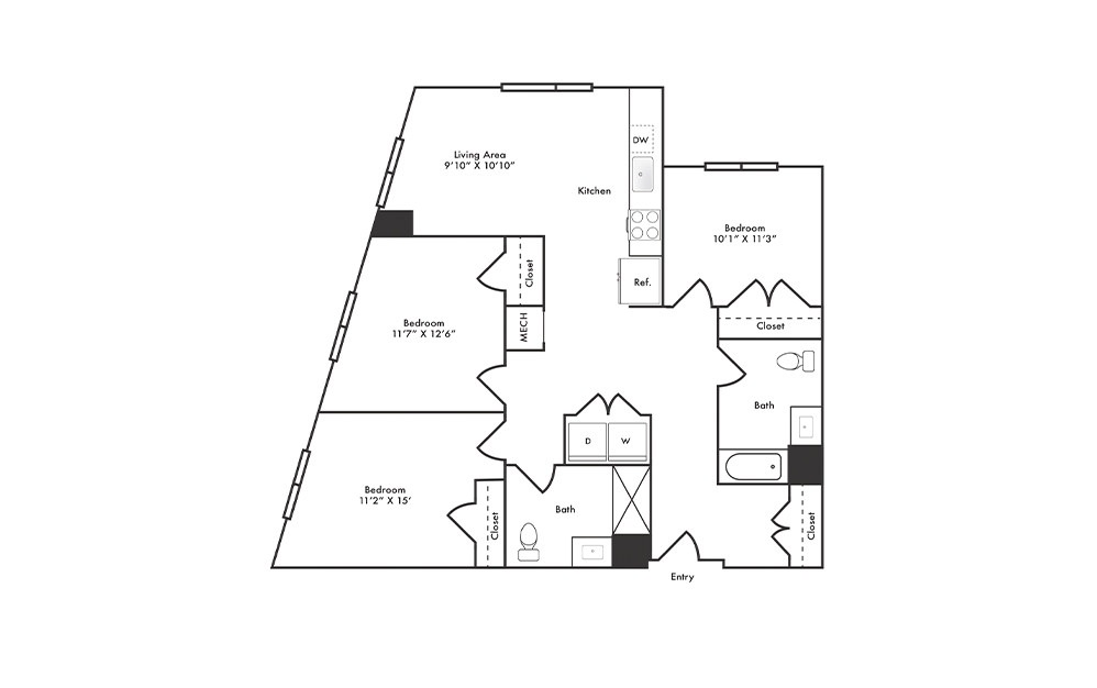 C2 - 3 bedroom floorplan layout with 2 baths and 1302 square feet.