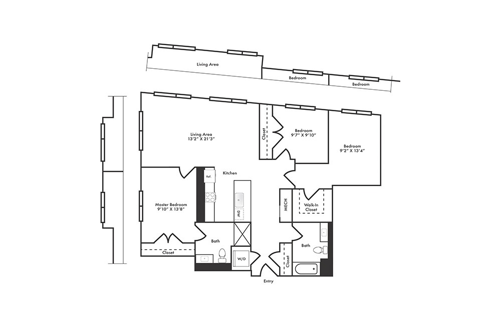 C3 - 3 bedroom floorplan layout with 2 baths and 1302 square feet.