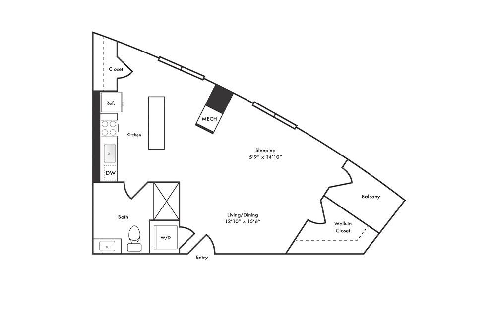S10 - Studio floorplan layout with 1 bath and 587 square feet.