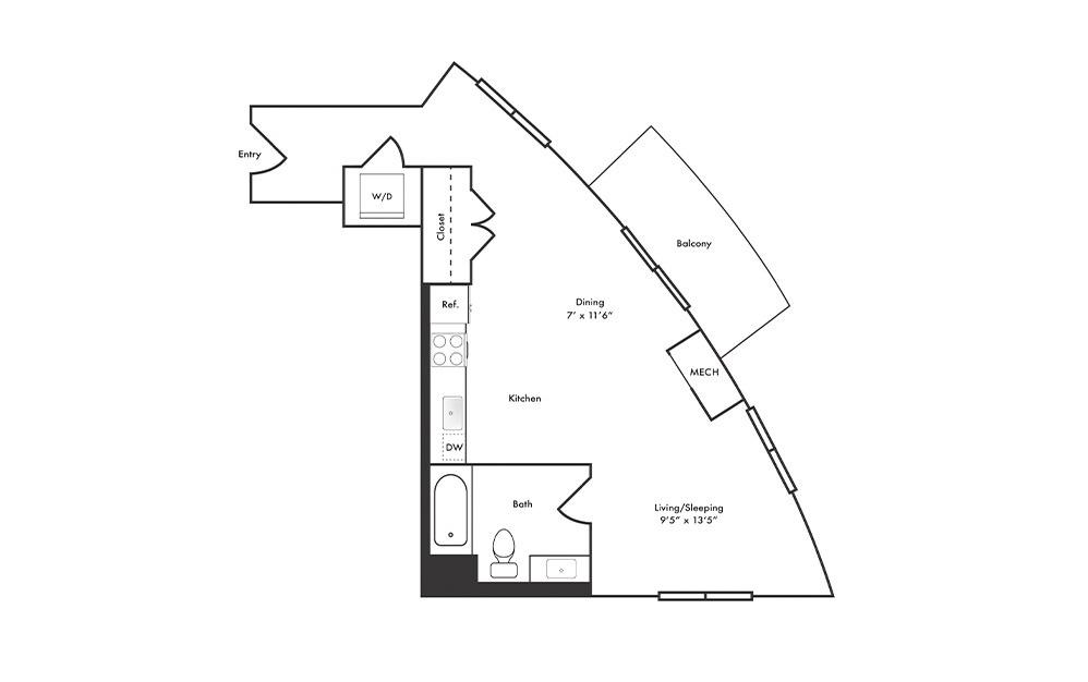 S11 - Studio floorplan layout with 1 bath and 548 square feet.