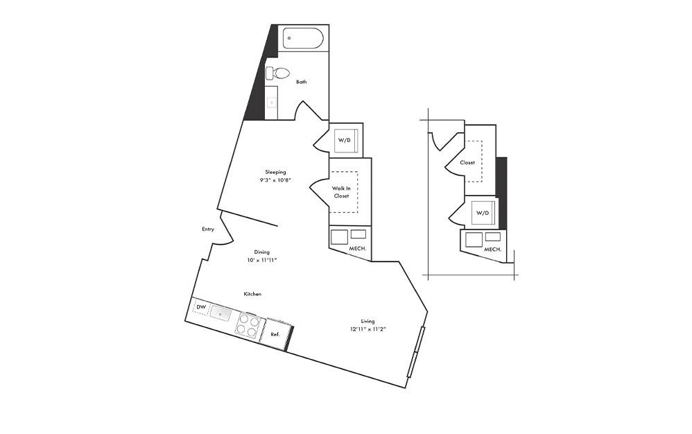S2 - Studio floorplan layout with 1 bath and 555 square feet.
