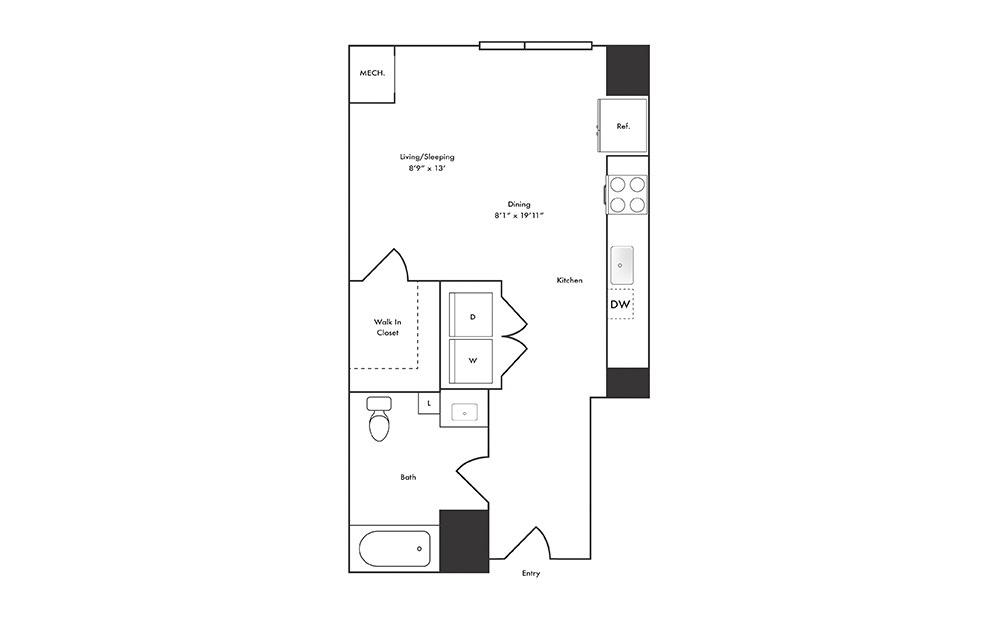 S3 - Studio floorplan layout with 1 bath and 519 square feet.