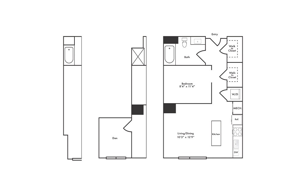 S5 - Studio floorplan layout with 1 bath and 624 to 698 square feet.
