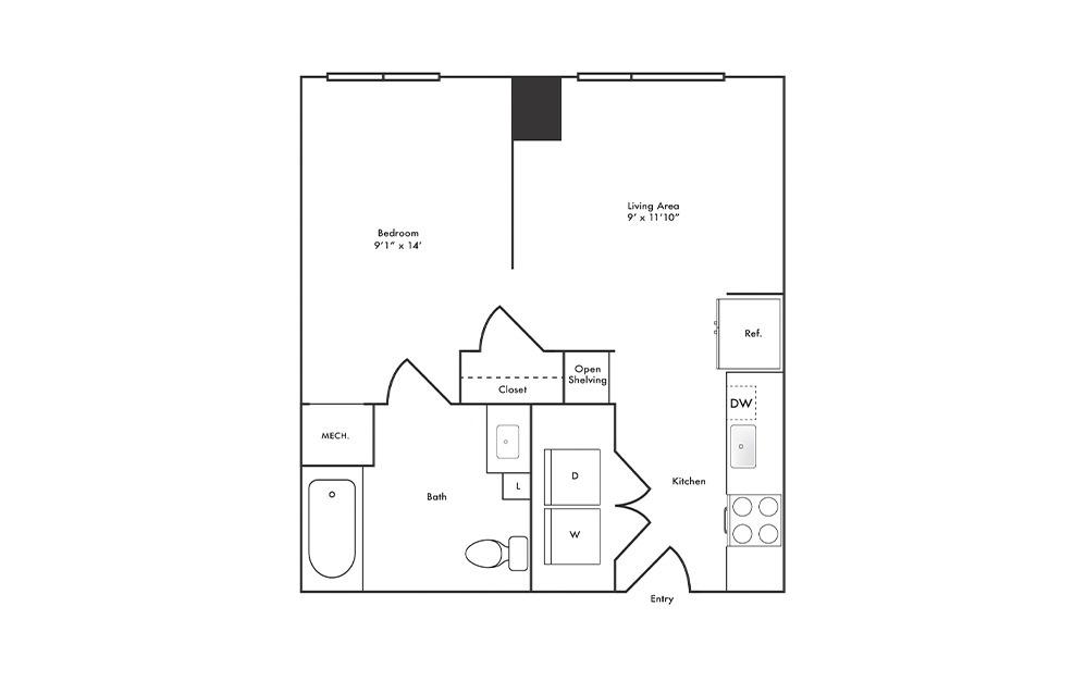 S6 - Studio floorplan layout with 1 bath and 523 square feet.