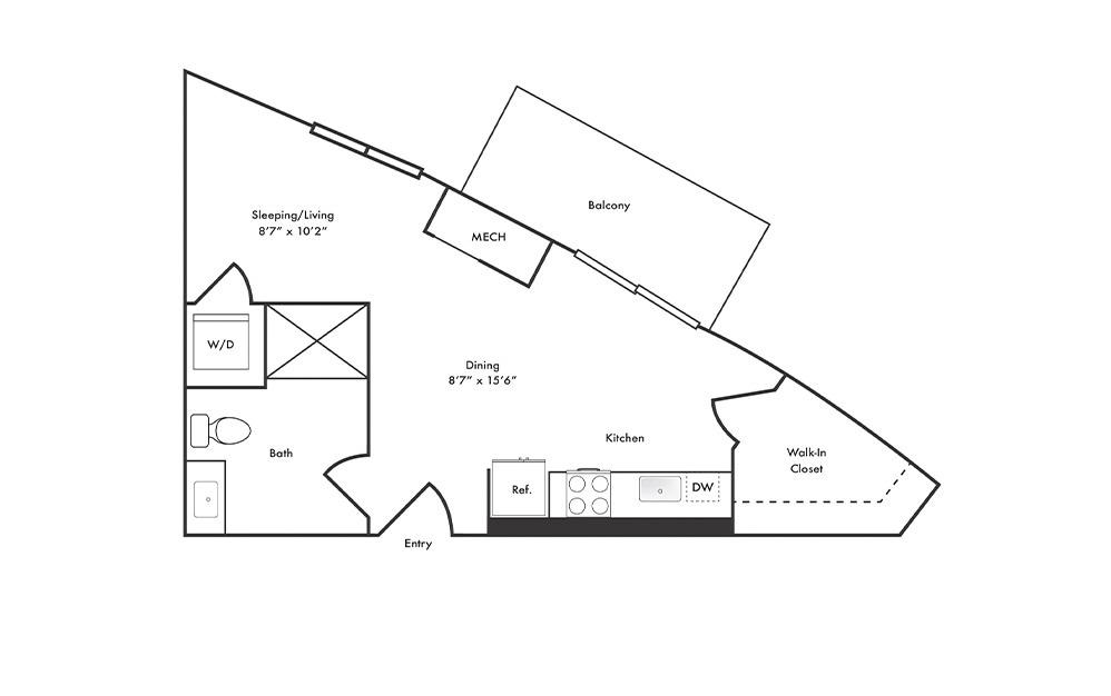S9 - Studio floorplan layout with 1 bath and 427 square feet.